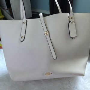 Coach Bags - Coach Market tote white EUC large carry all